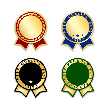 Ribbons award best product of year set. Gold ribbon award icons isolated on white background. Best product golden label for prize, badge, medal, guarantee quality product Vector illustration