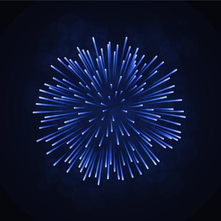 Beautiful blue firework vector illustration. Stock Illustratie