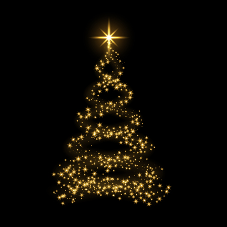 Christmas tree card background. Gold Christmas tree as symbol of Happy New Year, Merry Christmas holiday celebration. Golden light decoration. Bright shiny design Vector illustration
