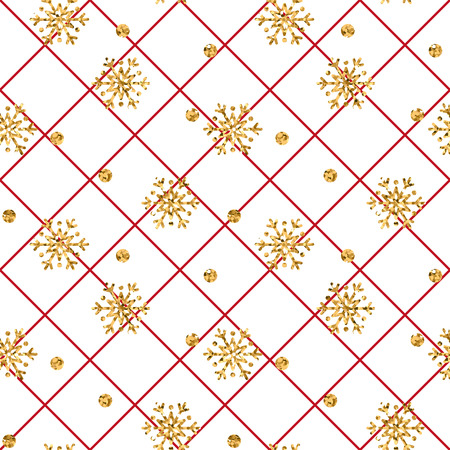 Christmas gold snowflake seamless pattern. Golden snowflakes on red and white rhombus background. Winter snow texture wallpaper. Symbol holiday, New Year celebration Vector illustration