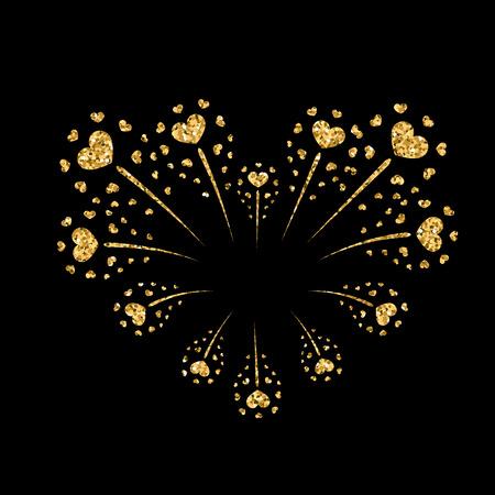 Heart firework gold. Beautiful flat golden firework isolated on black background. Bright decoration design Valentine day, romantic love card, wedding celebration, festival Vector illustration