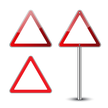 Triangle warning signs blank. Danger red triangular road signs isolated on white background. Guidepost metal pole. Road signs blank. Glossy icons.