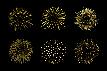 Beautiful gold fireworks set. Bright fireworks isolated black background. Light golden decoration fireworks for Christmas, New Year celebration.