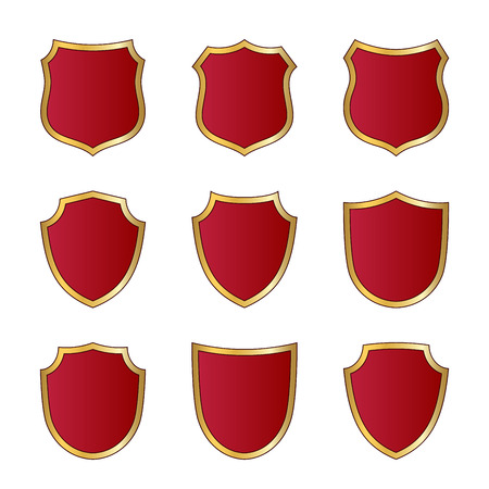 Gold and red shield shape icons set. Logo emblem metallic signs. Shape shield symbol of security, protection or armor, safe. Shiny element design.