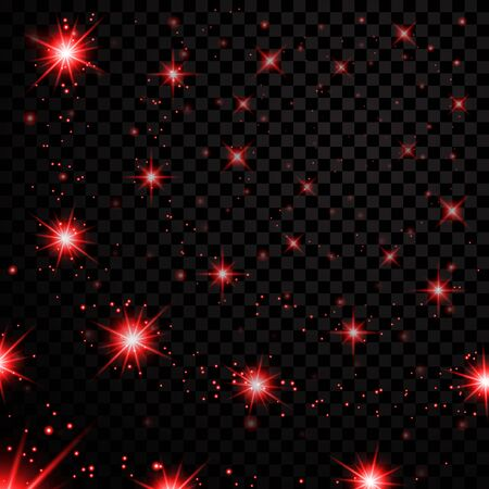 Red stars black night sky on transparent background. Abstract light glitter. Fantasy sparkles. Shine Christmas texture, magic glow. Bright for holiday card design.