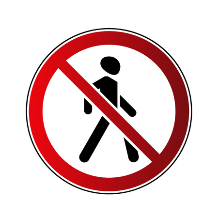 No walking sign. Prohibited red road sign isolated on white background. Pedestrian sign. No walk through. Stop entry symbol for forbidden. Forbidden walking sign Vector illustration.