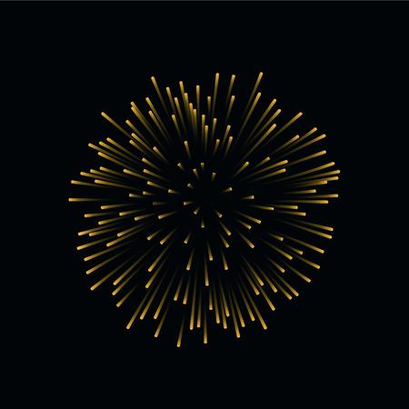Beautiful gold firework. Bright firework isolated on black background. Light golden decoration firework for Christmas, New Year celebration, holiday, festival, birthday card Vector illustration Illustration