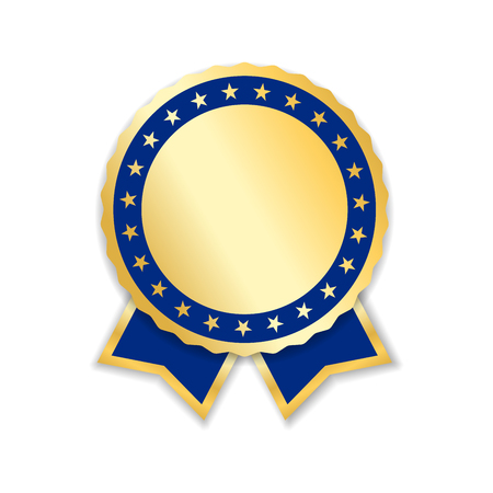 Award ribbon isolated. Gold blue design medal, label, badge, certificate. Symbol best sale, price, quality, guarantee or success, achievement. Golden ribbon award decoration Vector illustration