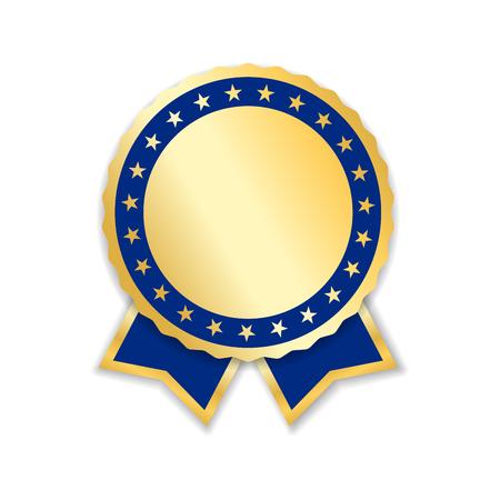 Prêmio fita isolada. Medalha de ouro azul design, etiqueta, crachá, certificado. Símbolo melhor venda, preço, qualidade, garantia ou sucesso, conquista. Ilustração de vetor de decoração de fita dourada Ilustración de vector