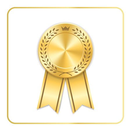 award ribbon gold icon blank medal with laurel wreath on white