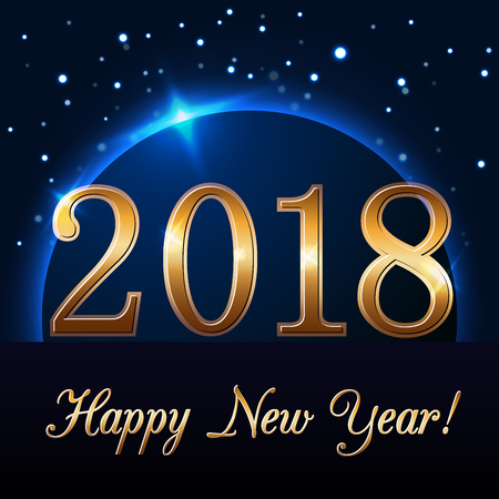 Happy New Year background with magic gold rain and globe. Golden numbers 2018 on horizon. Christmas planet design light, glow and sparkle. Symbol of wish, celebration. Vector illustration