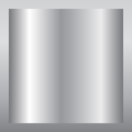 Silver gradient background. Silver design texture for ribbon, frame, banner. Abstract silver gradient template. Metal shine steel plate. Metallic light chrome pattern. Vector illustration