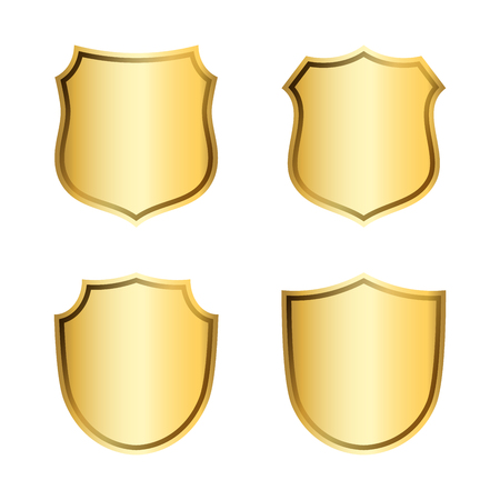 Gold shield shape icons set. 3D golden emblem signs isolated on white background. Symbol of security, power, protection. Badge shape shield graphic design Vector illustration