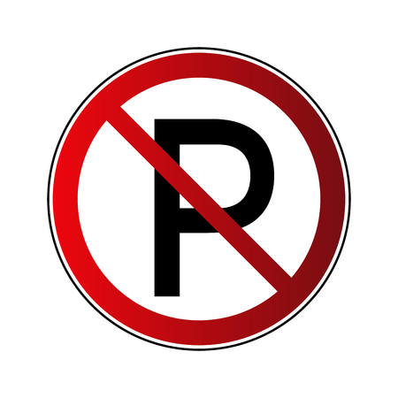 No parking sign. Forbidden red road sign isolated on white background. Prohibited no parking icon. No transportation button. Danger warning icon. Regulation sign Vector illustration Çizim