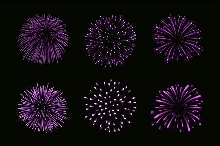 Beautiful purple fireworks set. Bright fireworks on black background. Light pink decoration fireworks for Christmas, New Year celebration, holiday festival, birthday.