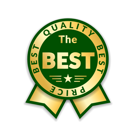 Ribbon award best price label. Gold ribbon award icon on white background. Best quality golden design for badge, medal, best choice, price, certificate guarantee product.