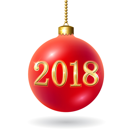 Merry Christmas 3D bauble, decoration with 2018 gold number. Red ball, isolated on white background. Bright golden holiday design. Xmas, Happy New Year celebration. Vector illustration