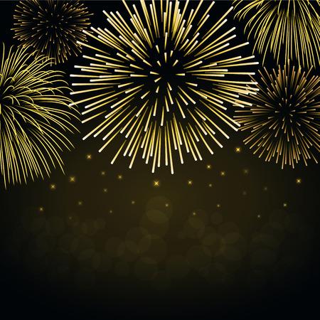 Firework gold sparkle background card. Beautiful bright fireworks on black background. Light golden decoration firework for Christmas card, New Year celebration illustration.
