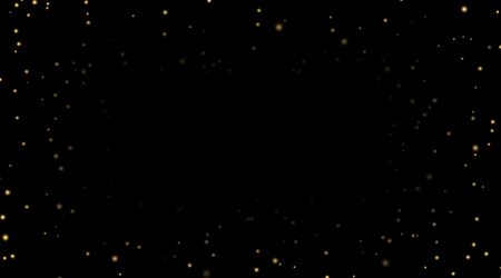 Night sky with gold stars on black background. Dark astronomy space template. Galaxy starry pattern wallpaper. Shiny golden stars, night sky universe. Cosmos stars wallpaper Vector illustration