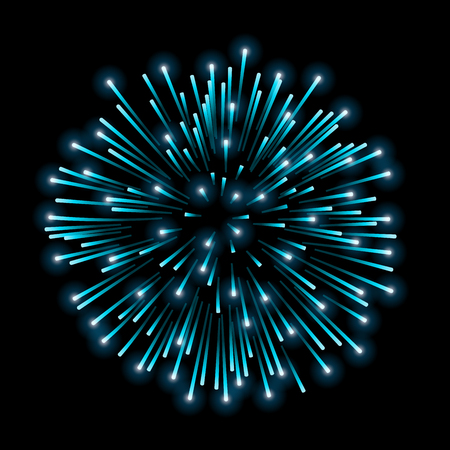 Beautiful blue firework. Bright salute isolated on black background. Light blue decoration firework for Christmas, New Year celebration, holiday, festival, birthday card Vector illustration