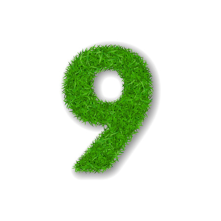 Grass number nine. Green number 9, isolated on white background. Green grass 3D nine, symbol of fresh nature, plant lawn, summer. Grass texture spring font. Beautiful eco design Vector illustration