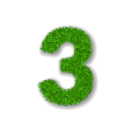 Grass number three. Green 3D number three isolated on white background. Green grass 3, symbol of fresh nature, plant lawn, summer. Grass texture spring font. Beautiful eco design Vector illustration
