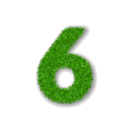 Grass number six design vector illustration Ilustrace