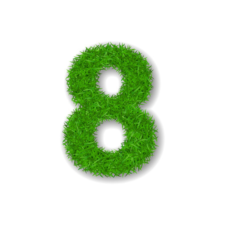 Grass number eight. Green 3D number 8, isolated on white background. Green grass eight, symbol of fresh nature, plant lawn, summer. Grass texture spring font. Beautiful eco design Vector illustration