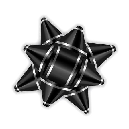 Black bow ribbon 3d decor element package. Illustration