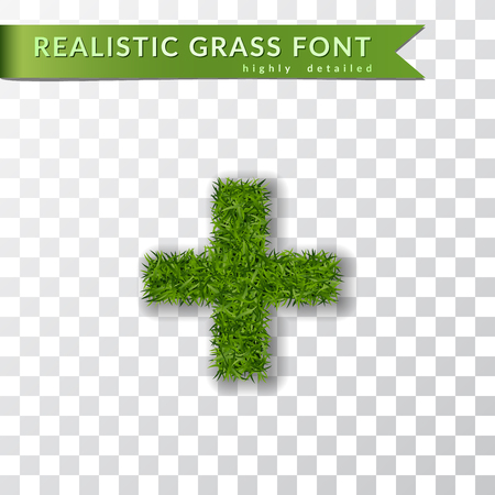 Grass symbol plus. Green plus, isolated on white transparent background. Green grass 3D plus, fresh symbol of nature, plant lawn, summer. Grass texture spring font. Eco design Vector illustration Illustration