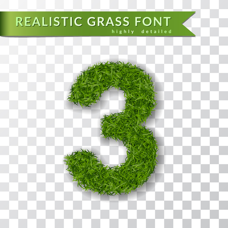 Grass number three. Green number three isolated on white transparent background. Green grass 3D 3, fresh symbol of nature, plant lawn, summer. Grass texture spring font. Eco design Vector illustration