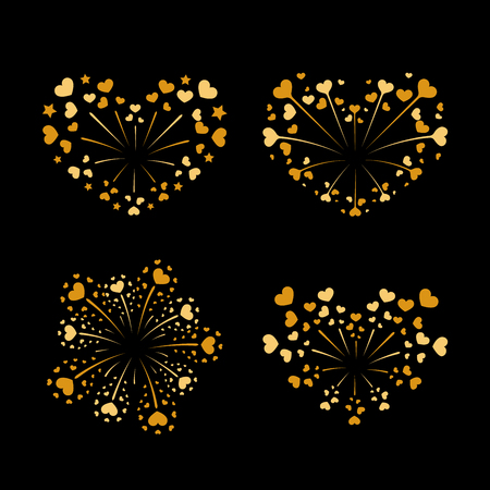 Beautiful heart-fireworks set. Gold romantic salute isolated on black background, love decoration flat firework. Symbol of Valentines day celebration, holiday, wedding vector illustration.