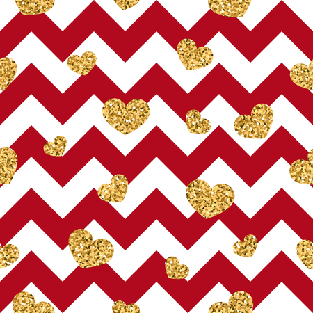 Gold heart seamless pattern. Red-white geometric zigzag, golden confetti-hearts, symbol of love, Valentines day holiday. Zigzag design wallpaper, background, texture vector illustration.