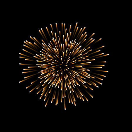 Beautiful gold firework. Couple romantic golden salute isolated on black background.