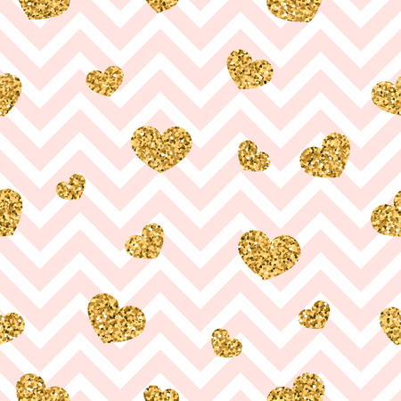 Gold heart seamless pattern. Pink-white geometric zigzag, golden confetti-hearts. Symbol of love, Valentine day holiday. Zigzag design wallpaper, background, texture. Vector illustration.