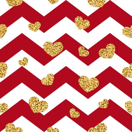 Gold heart seamless pattern. Red-white geometric zig zag, golden confetti-hearts. Symbol of love, Valentine day holiday. Zigzag design wallpaper, background, texture Vector illustration