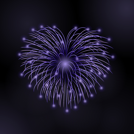 Beautiful heart-firework. Bright romantic firework, isolated on black background. Light love decoration salute for Valentine Day celebration. Symbol of holiday, wedding. Vector illustration