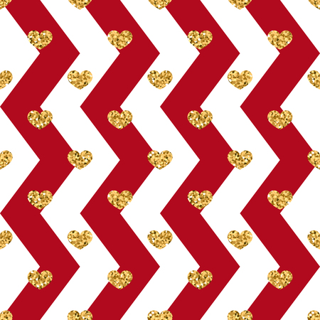 Gold heart seamless pattern. Red-white geometric zig zag, golden confetti-hearts.