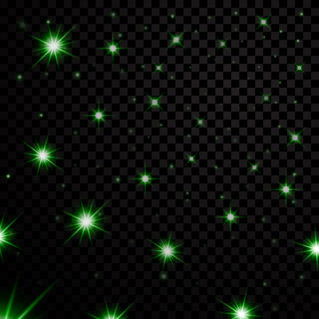 Green light stars on black transparent background. Abstract bokeh glowing design. Shine bright elements. Shiny fantasy glow in dark Vector illustration