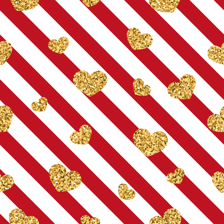 Gold heart seamless pattern. Red-white geometric stripes, golden confetti-hearts. Symbol of love, Valentine day holiday. Design wallpaper, background, fabric texture. Vector illustration.