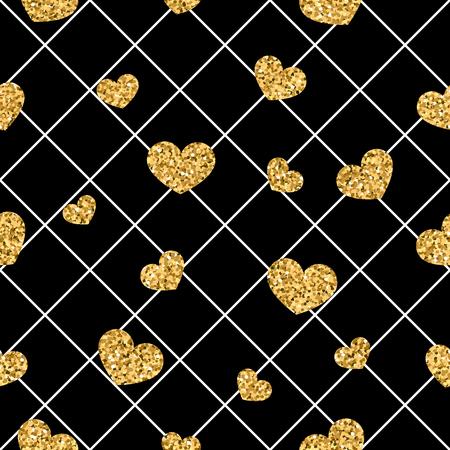 Gold heart seamless pattern. Black-white geometric decoration, golden confetti-hearts. Vectores