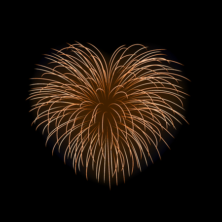 Beautiful heart-firework. Gold romantic firework, isolated on black background. Light love decoration salute for Valentine Day celebration. Symbol of holiday, wedding. Vector illustration.