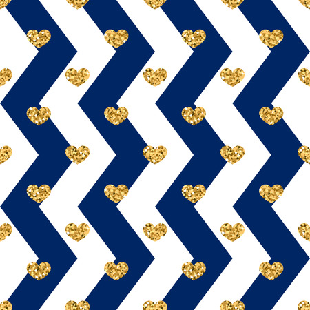 Gold heart seamless pattern on blue and white geometric zigzag background.