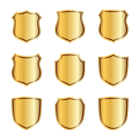 Golden shields in various shapes icons.