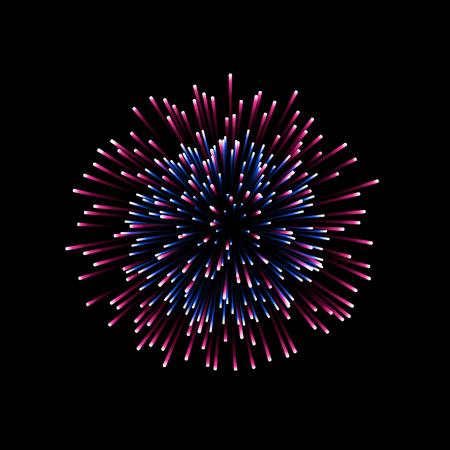Beautiful firework. Couple romantic salute isolated on black background. Light decoration firework for Christmas, New Year, Valentine Day celebration. Symbol of holiday Vector illustration