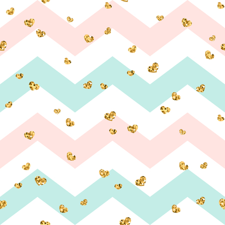 Gold heart seamless pattern. Pink-blue-white geometric zig zag, golden confetti-hearts. Symbol of love, Valentine day holiday. Zigzag design wallpaper, background, texture Vector illustration