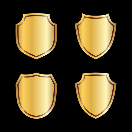 Gold shield shape icons set. 3D golden emblem signs isolated on black background. Symbol of security, power, protection. Badge shape shield graphic design Vector illustration