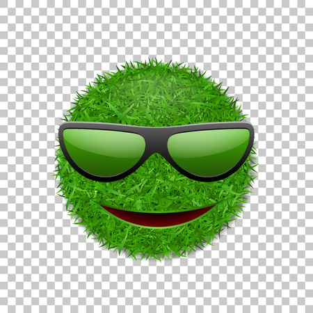 Green grass field 3D. Face smile with sunglasses. Smiley grassy icon, isolated white transparent background. Ecology concept. Happy smiling sign. Symbol eco lawn, nature Vector illustration