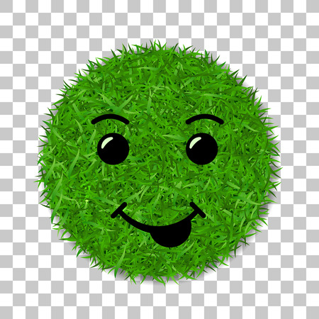 Green grass face smile. Smiley grassy icon, isolated white background. Ecology concept. Happy smiling sign. Symbol eco lawn, nature, safe environment, healthy, fresh spring Vector illustration