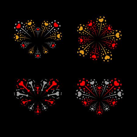 Beautiful heart-fireworks set. Bright romantic salute isolated on black background. Love decoration flat firework. Symbol of Valentine Day celebration, holiday, wedding Vector illustration Illustration